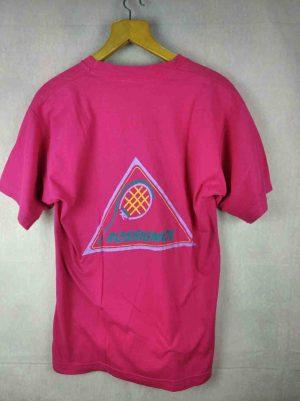 T-Shirt Rossignol, série Sportline, véritable vintage Années 80, visuel raquette tennis, rose très flash