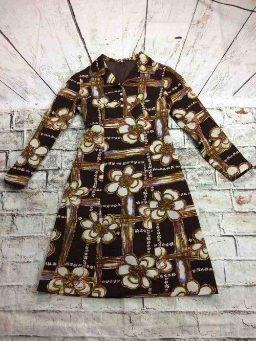 Robe Vintage, Années 70, Fleurs, Seventies, Intérieur Doublé, Taille M, Couleur Marron, Old School Dress Vestido Kleid