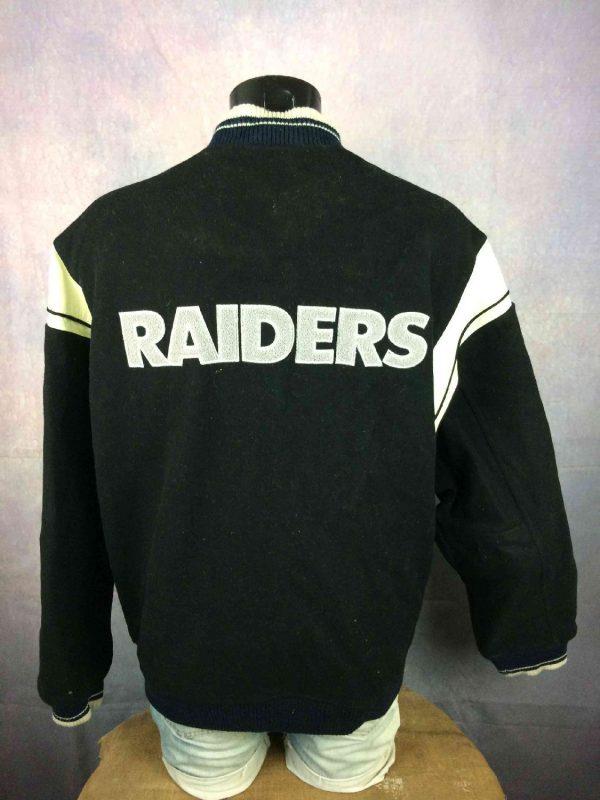 Veste Raiders Oakland Reebok NFL Laine Cuir Gabba Vintage 1 - Veste Raiders Oakland Reebok NFL Laine Cuir