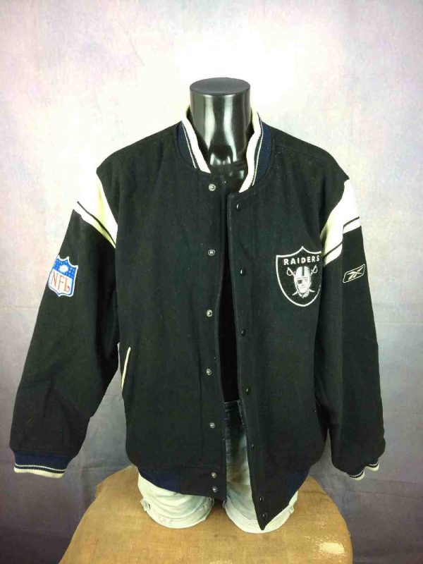 Veste Raiders Oakland Reebok NFL Laine Cuir Gabba Vintage 4 - Veste Raiders Oakland Reebok NFL Laine Cuir
