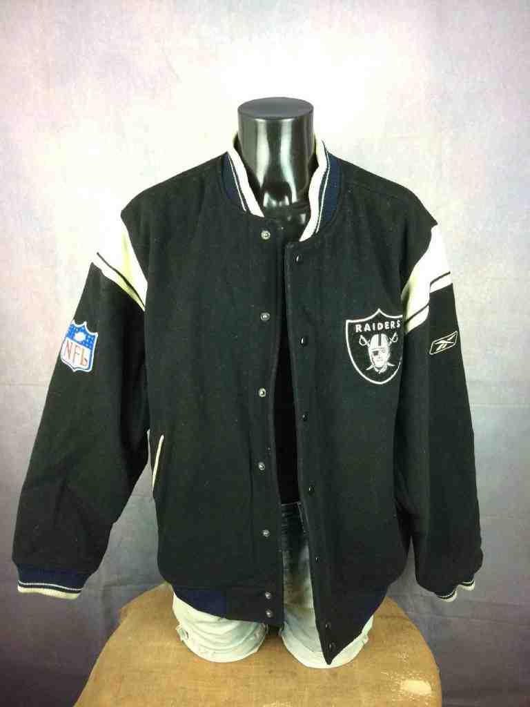 Veste Raiders Oakland Reebok NFL Laine Cuir Gabba Vintage 4 - Quelle veste vintage choisir pour l'hiver ?
