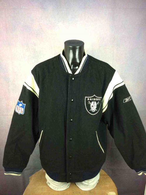 Veste Raiders Oakland Reebok NFL Laine Cuir - Gabba Vintage