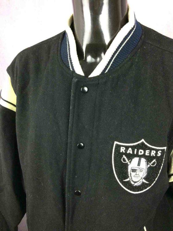 Veste Raiders Oakland Reebok NFL Laine Cuir Gabba Vintage 6 - Veste Raiders Oakland Reebok NFL Laine Cuir