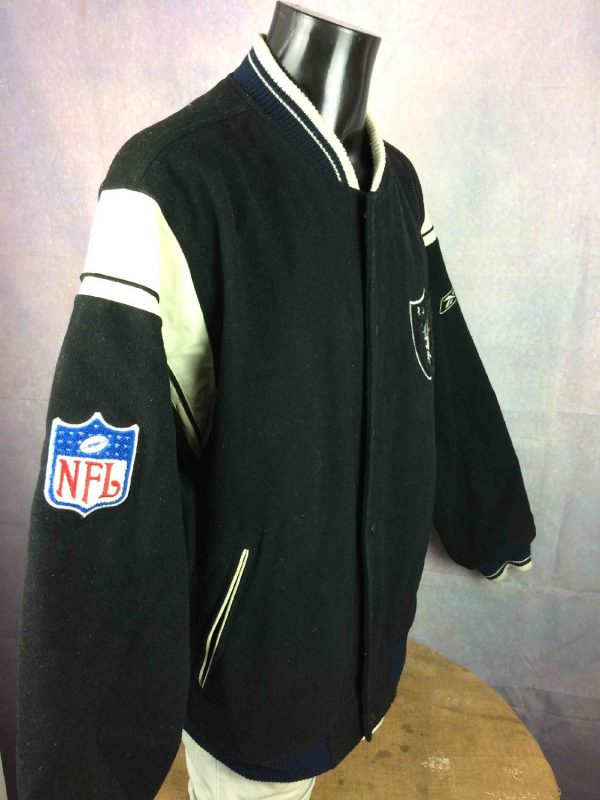 Veste Raiders Oakland Reebok NFL Laine Cuir Gabba Vintage 7 - Veste Raiders Oakland Reebok NFL Laine Cuir