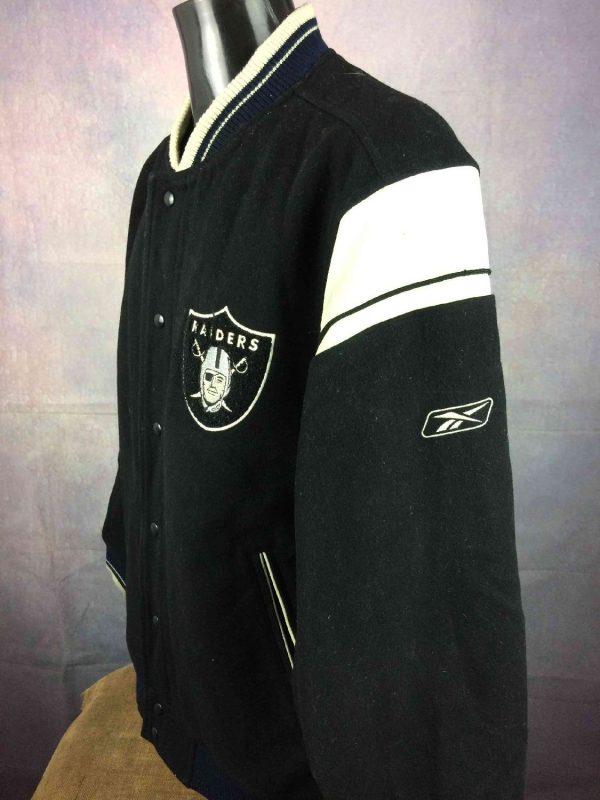 Veste Raiders Oakland Reebok NFL Laine Cuir Gabba Vintage 8 - Veste Raiders Oakland Reebok NFL Laine Cuir