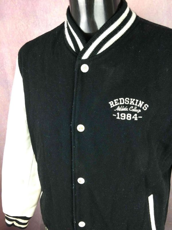 Veste Redskins Teddy Cuir Laine College 1984 Gabba Vintage 7 - Veste Redskins Teddy Cuir Laine College 1984