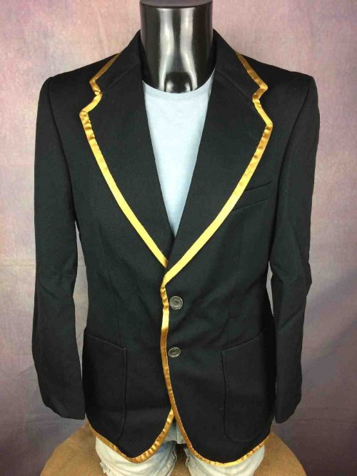 Veste CANDA International, Véritable vintage années 70s, PureLaineVierge, Intérieur doublé, Noire avec pourtours couleur or, Blazer Old School