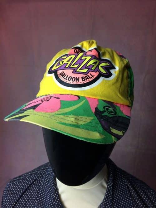 Casquette BALZAC Official Ballon Ball 1989 CATCO, véritable vintage années 80, Made in Hong Kong, 100% coton, Taille Unique, Couleur Multicolore, Old school Cap Gorra Hat Neon Fluo Jungle Unisexe