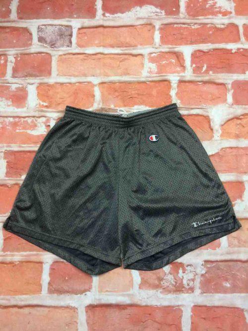 Shorts CHAMPION, véritable vintage années 90s, logo cousu, Mesh doublé, taille élastique et cordon, Taille L, Couleur gris, Sports Basketball Team Athletics Logo Homme