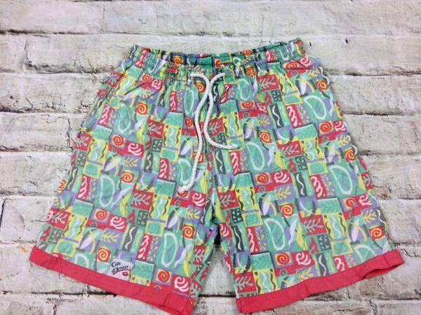 Cote d'Amour Maillot de Bain homme, Shorts, Caleçon, véritable vintage années 80, intérieur doublé, élastique et cordon de serrage, 2 poches sur côté , Sport Beach Wear Swim Design