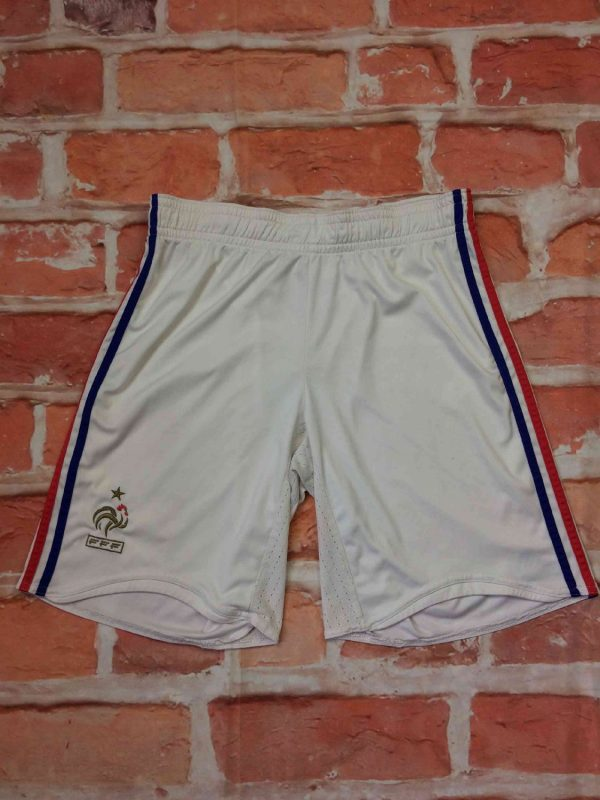 Shorts FRANCE , version Home, saison Euro Cup 2008, de marque Adidas, technologie Clima365, taille élastique et cordon, FFF Team Football