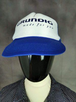 Casquette Grundig Made For You, Véritable Vintage Années 90s,Taille Unique, Couleurs Bleu et Blanc, Old-school Radio TV Transistor FM Unisexe