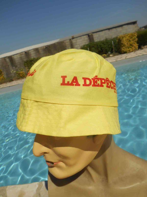 Bob LA DEPECHE DU MIDI, véritable vintage années 80s, Publicité Jean Garcin Marseille, Made in Honk Kong, Publicité France Midi Olympique Journal Sun Hat Floppy Cap Gorra