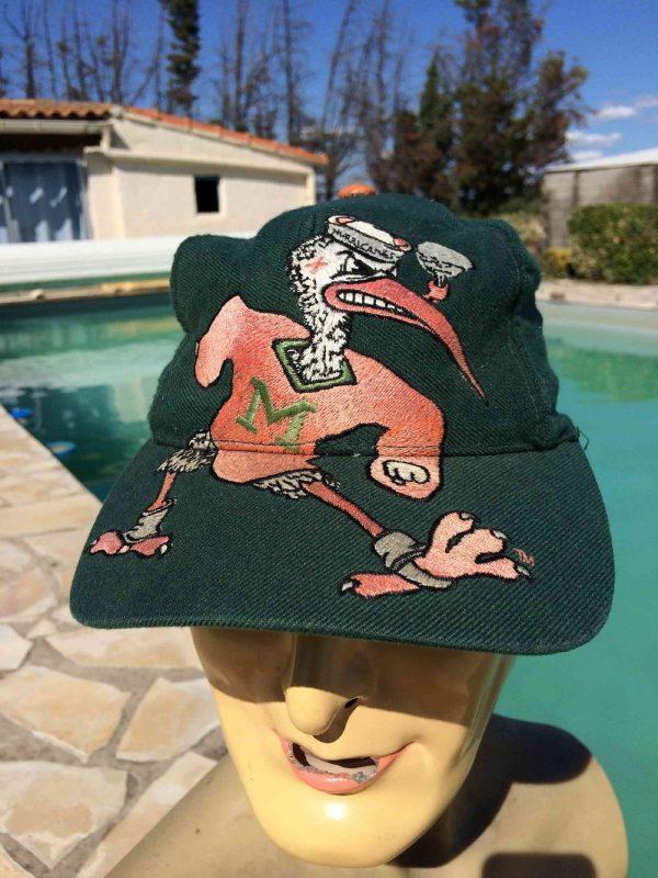 Casquette MIAMI HURRICANES, visuels brodés, marque Signature, véritable vintage années 90, 15% laine, Street Cap Gorra Hat University Canes Snapback Rare Football