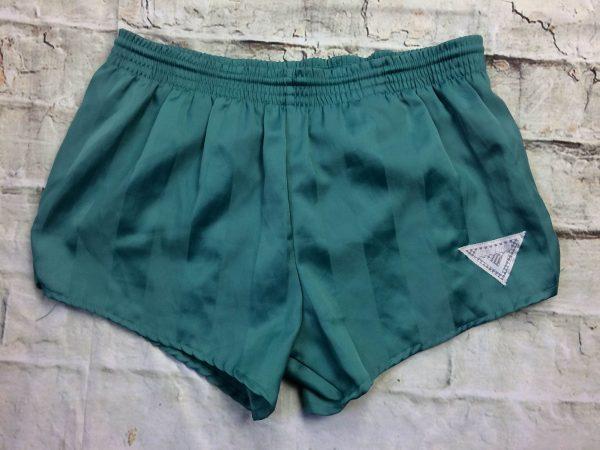 Shorts NEW LINE, véritable vintage années 90s, élastique et cordon de serrage, intérieur doublé, vert et nylon, old school, Running Jogging Sprinter Trial