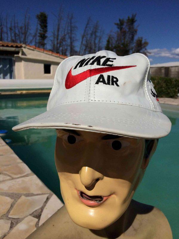 Casquette NIKE AIR, en cuir, inscription Just Do It sur le côté, visuels brodés, véritable vintage années 90, aucune étiquette, Street Cap Gorra Hat NBA USA
