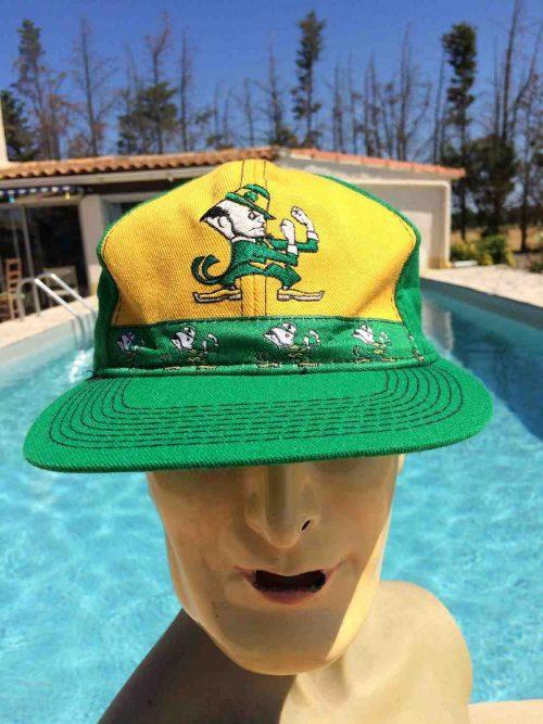 Casquette NOTRE DAME, véritable vintage années 90s, de marque Pro Player, Official License ND, Made in Korea, USA Cap Gorra Hat Irish