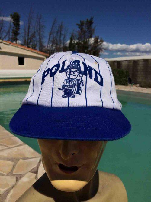 Casquette POLAND, marque KC, véritable vintage années 90s,Pologne Baseball Rayé Cap Gorra Hat