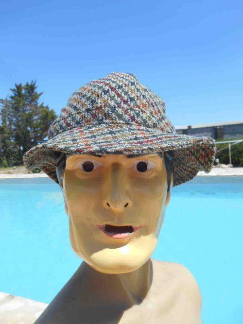 Chapeau PRINTEMPS, véritable vintage année 70s, 80% laine, doublé, Made in Italy, Top Cap Gorra Hat Old-school Plaid Tweed