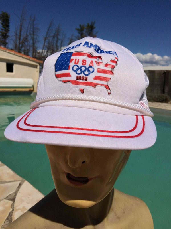 Casquette TEAM AMERICA 1988, marque Clutch, édition USA Olympics Games Seoul , Official Licence, Made in Korea, véritable vintage années 80s, Jeux Olympiques Cap Gorra Hat