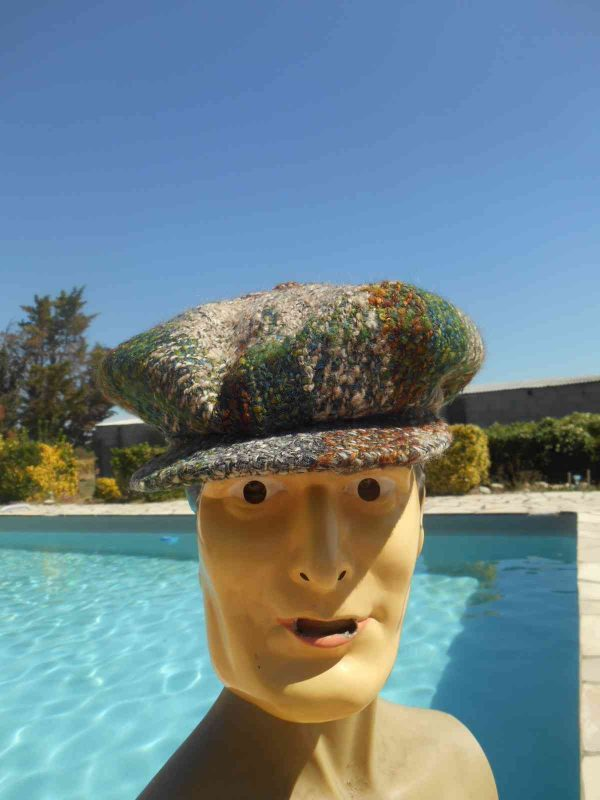Casquette TORPEDO, véritable vintage année 70s, Made in France, 100% laine, Woven in the British Isles, Top Cap Gorra Hat Old-school Plaid Tweed