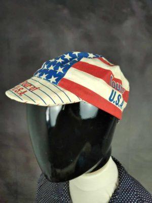 Casquette Tour Of USA, marque Genpro, Véritable Vintage Année 80s, Made in USA, Taille Unique, Couleurs Bleu - Blanc - Rouge, Cyclisme Eroica Vélo Unisexe