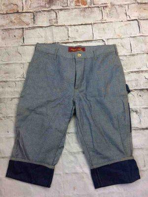 TRIGGER HAPPY London Bermuda Shorts, en jeans retourné, multi poches, reverse denim design,