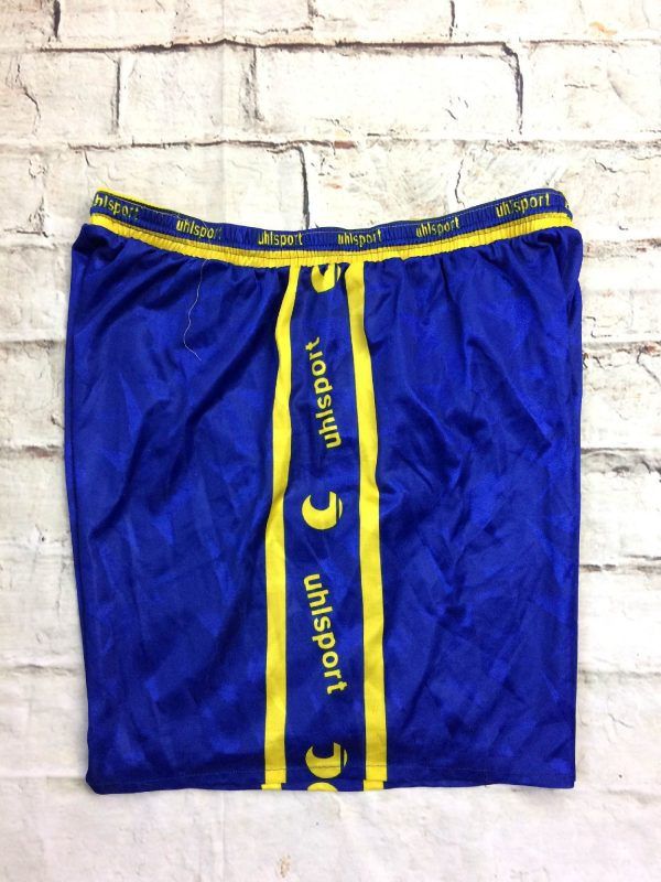 UHLSPORT Shorts, série Feel The Passion, vrai vintage Années 90s, Made in Hungary, taille élastique et serrage cordon, Football Handball