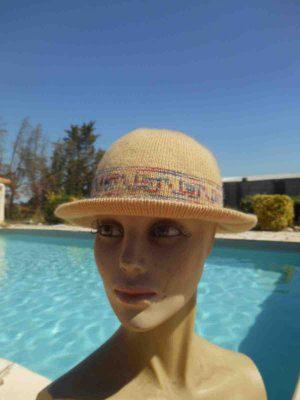Chapeau Femme, véritable vintage année 70s, Top Cap Gorra Hat Old-school