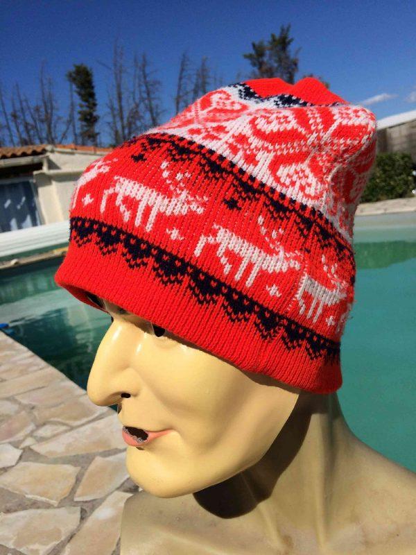 VINTAGE Années 80 Bonnet Ski Neige Unisex, 100% acrylic, Beanie Hat Surf Old School Sport Punk Alternative HC