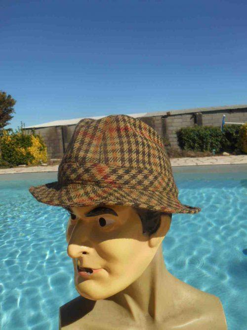 Casquette BLARNEY, Headwear, distribué par Berteil Paris / Deauville, véritable vintage année 60s, doublé, Made in Ireland, Top Cap Gorra Hat Plaid Tartan