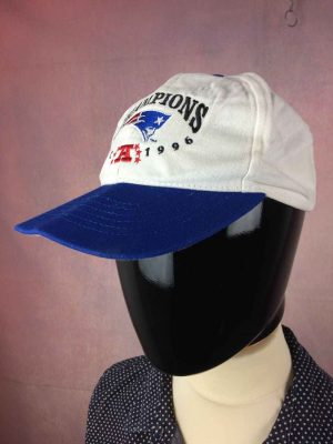 Casquette NEW ENGLAND PATRIOTS, édition Champions 1996 AFC, Made in USA, Véritable vintage années 90, Cap Gorra Hat Old School Football Américain NFL