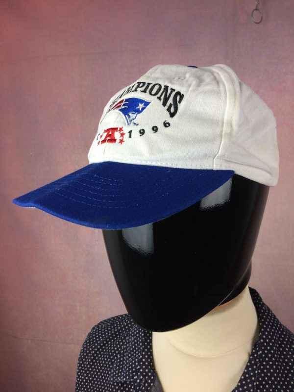 Casquette NEW ENGLAND PATRIOTS, édition Champions 1996 AFC, Made in USA, Véritable vintage années 90, Cap Gorra Hat Old School Football Américain NFL