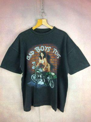 T-Shirt BAD BOYS TOYS, Véritable vintage Années 90, Coton lourd et épais, USA Harley Davidson Biker Custom Old School