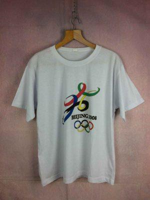 T-Shirt BEIJING 2008, Véritable vintage Années 00, Jeux Olympiques JO Pekin Chine Logo