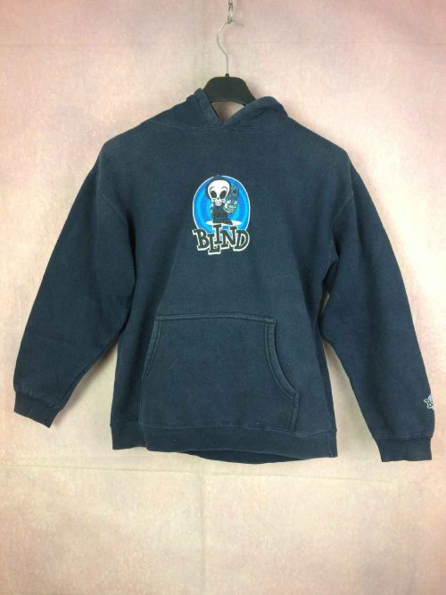 Sweat Blind Skateboards, Véritable Vintage Années 90, Made in USA, Capuche, Gun Unisex Sweater SweatShirt