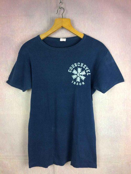 T-Shirt COURCHEVEL 1850m, Véritable vintage Années 80, Made in France, Impression feutrine, Pur coton, Ski FranceOld School