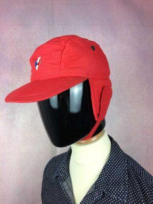 Casquette PIPOLAKI, véritable vintage années 80s, Made in France, Couvre oreilles rabattable, Doublé et rembourrée, Ski Cap Gorra Hat Old School