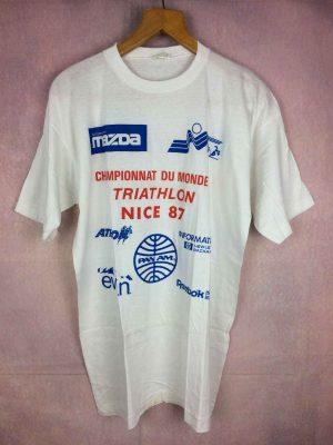 T-Shirt Championnat du Monde de TRIATHLON NICE 87, Véritable vintage années 80s, Dos imprimé, Pur Coton, Dos Imprimé, Sponsors Mazda HP Athlon Evian Reebok Pan Am