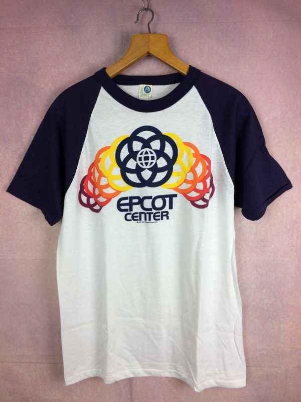 T-Shirt EPCOT CENTER, Official licence Walt Disney Productions 1982, Véritable vintage années 80s, Marque Artex, Made in USA, Parc à thèmes World Resort
