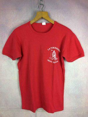 T-Shirt LA TOUSSUIRE 1800 2235m, véritable vintage Années 80, Imprimé feutrine, Pur Coton, Old-school Ski France