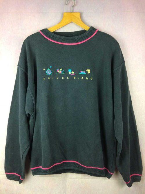 Sweat POIVRE BLANC, Véritable vintage années 90, Made in Portugal, Unisex Sweater SweatShirt