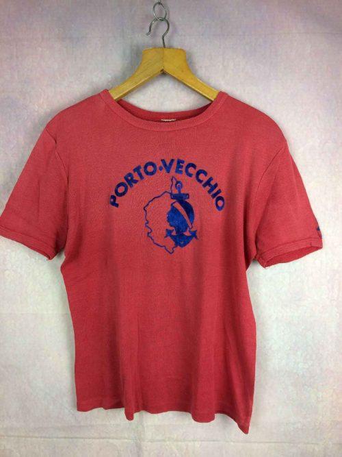 T-Shirt PORTO VECCHIO, marque Tilt, véritable vintage Années 70, Made in France, Imprimé feutrine, Pur Coton, Logo Tilt sur une manche, Taille S, Old-school Corse Homme