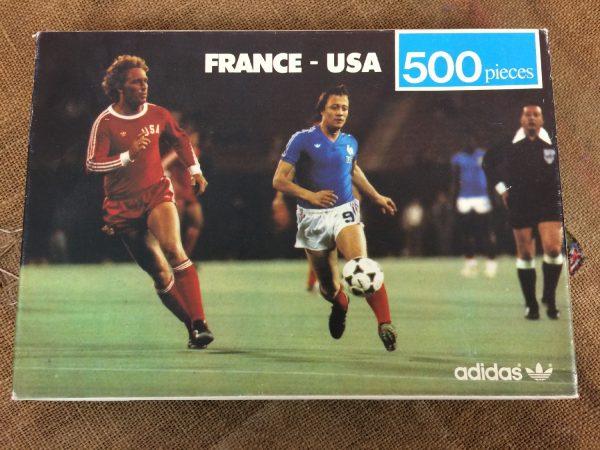PuzzleFRANCE USA 6 - 0, modèle 500 pièces, de marque Adidas en collaboration avec Ravensburger, Année 1979,Véritable vintage années 70s, Lacombe Football Match