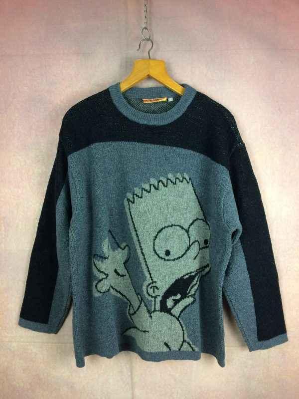 Pull SIMPSONS, Modèle Bart Simpson Skateboarding, Année 2004, Licence Officielle, Vrai vintage années 00s, Laine Unisex Rare Pullover