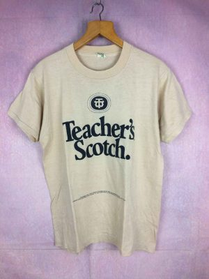 T-Shirt Teacher's Scotch Rich is Better 1982, véritable vintage années 80s, Marque Screen Stars, Made in USA, Whisky Alcool Publicité