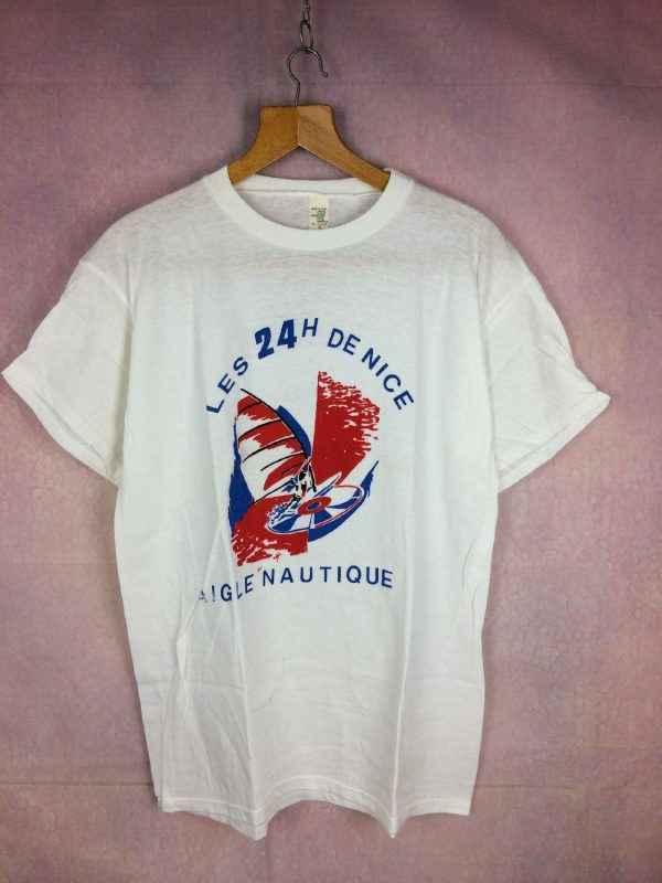 T-Shirt LES 24 h DE NICE, Aigle Nautique, Véritable vintage années 80, Pur Coton, Made in Italy, Course, France