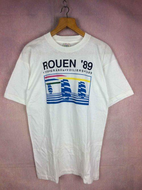 T-Shirt Rouen 89, 1789 1989 Grands Voiliers, Véritable vintage années 80s, Les Voiles de la Liberté Armada, Marque Take Time, Pur coton, Navigation Régate France