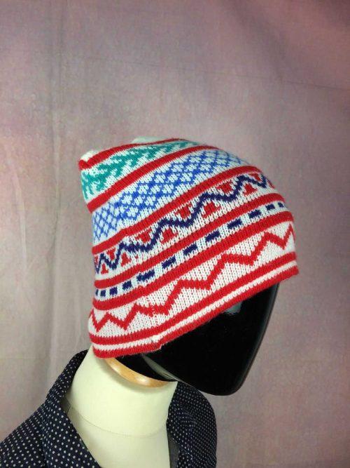 VINTAGE Années 80 Bonnet, Made in France, 100% acrylic, Ski Neige Unisex, Beanie Hat Surf Old School Sport Punk Alternative HC