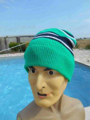 VINTAGE Années 80 Bonnet, Bonnet Vert Bleu Blanc, Rayé, Ski Neige Unisex, Beanie Hat Surf Old School Sport Punk Alternative HC